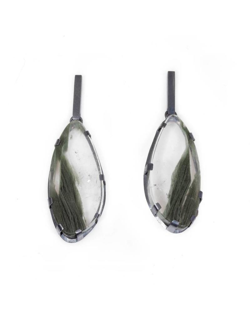 Rutilated Quartz with Green Striations Prong Set in Oxidized Silver