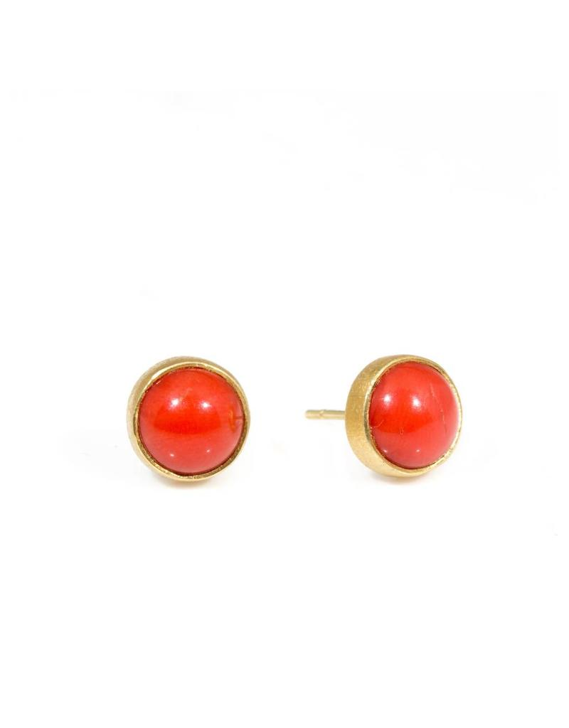 Red Coral Post Earrings in 22k Yellow Gold