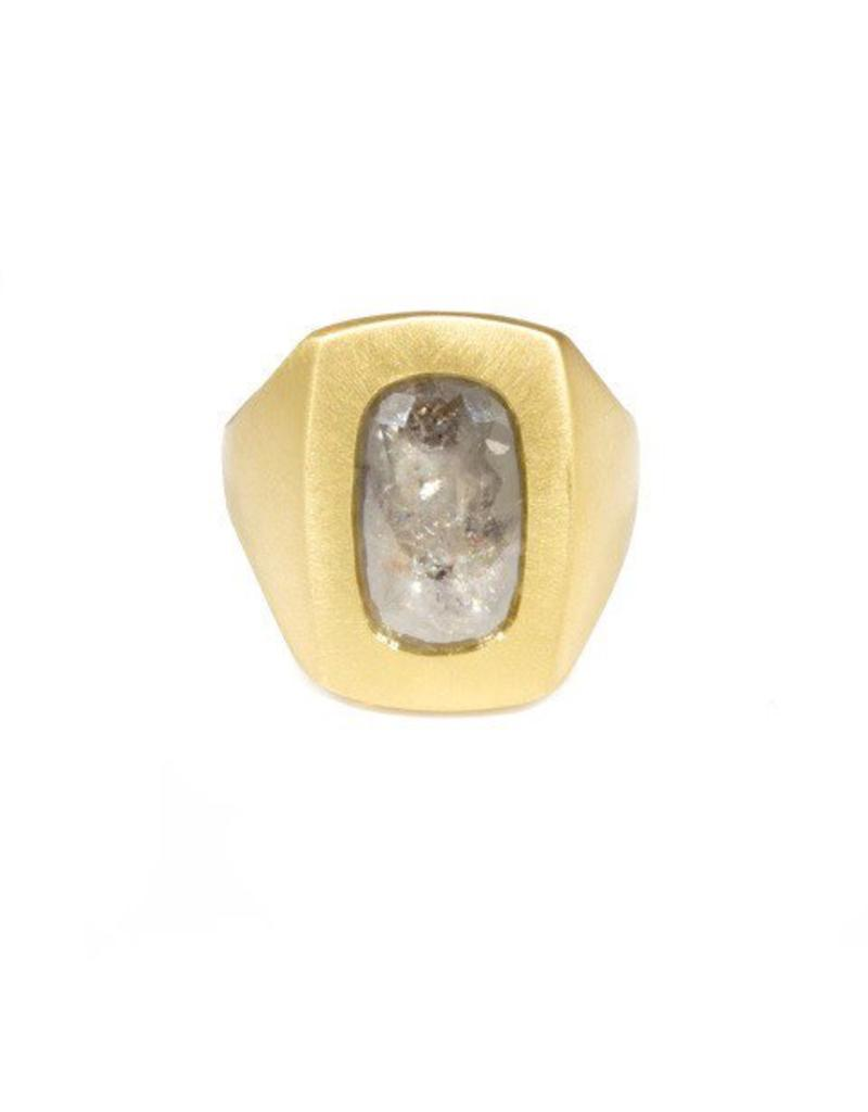 Box Ring with Rustic Gray Diamond in 18k Yellow Gold