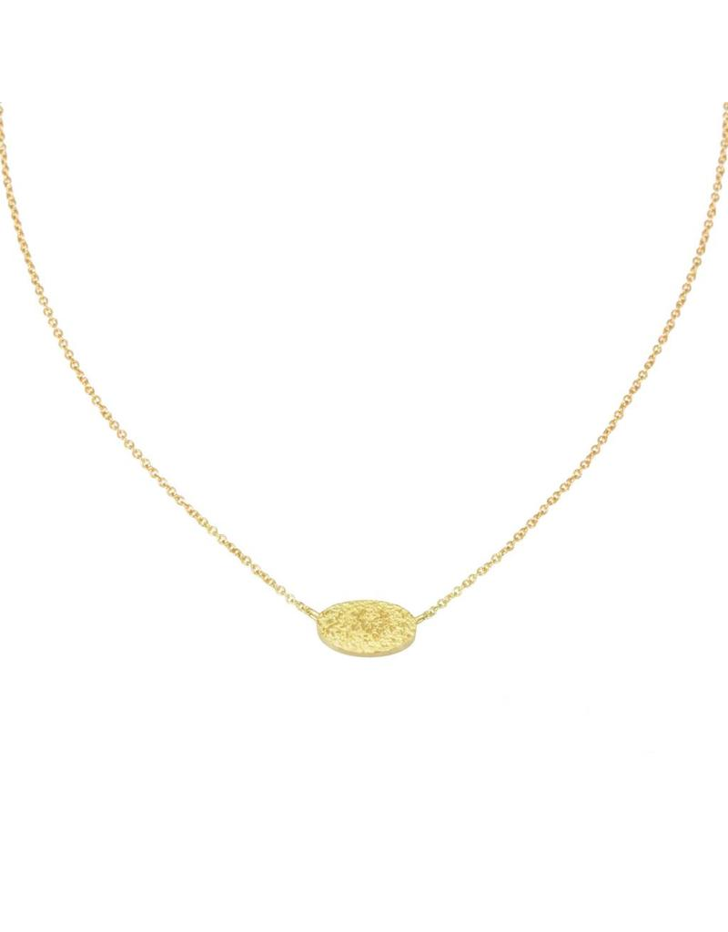Oval Sand Necklace in 18K Gold