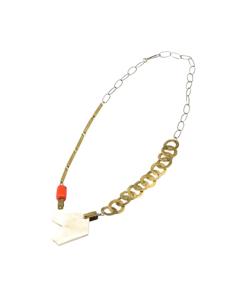 Necklace with Antler and Coral in Brass and Silver