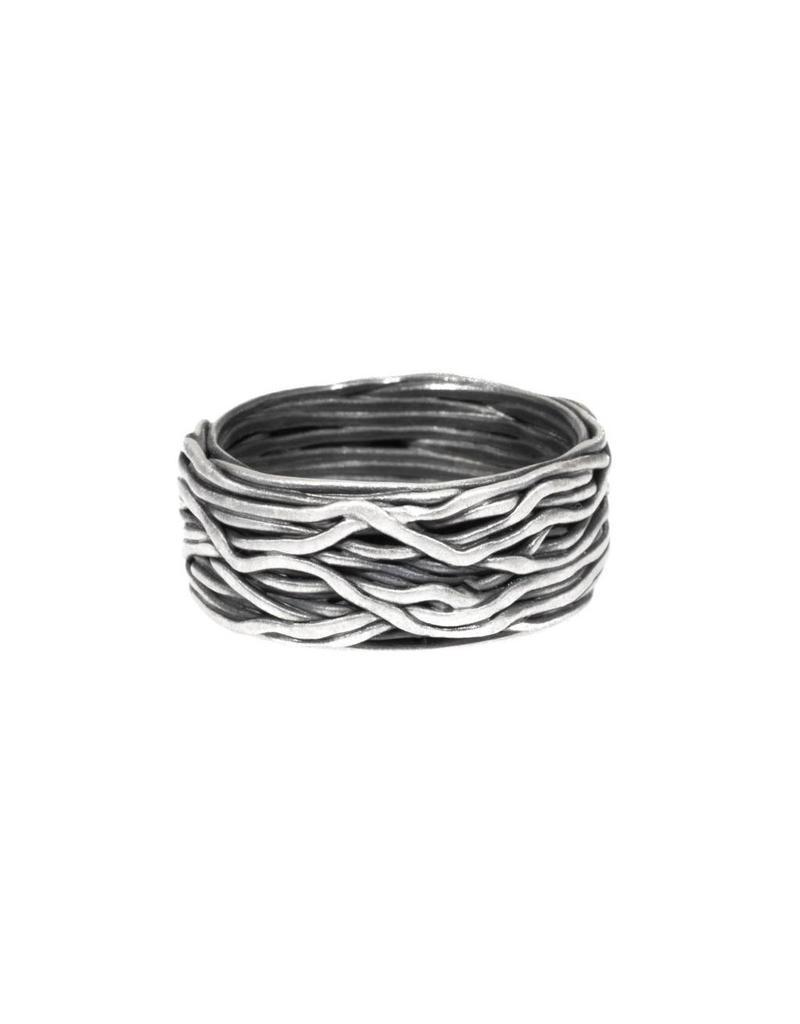 Wire Wrap Ring in Oxidized Fine Silver