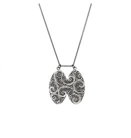 Double Filigree Pendant in Silver