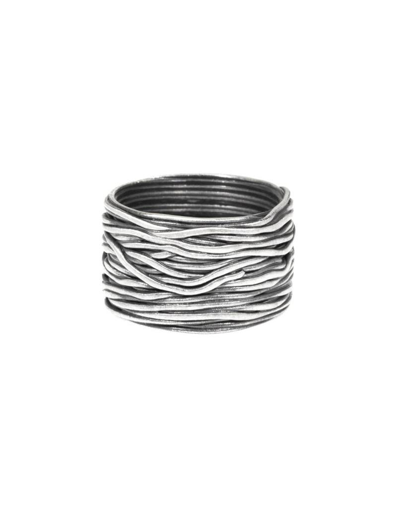 Wire Wrap Ring in Oxidized Fine Silver