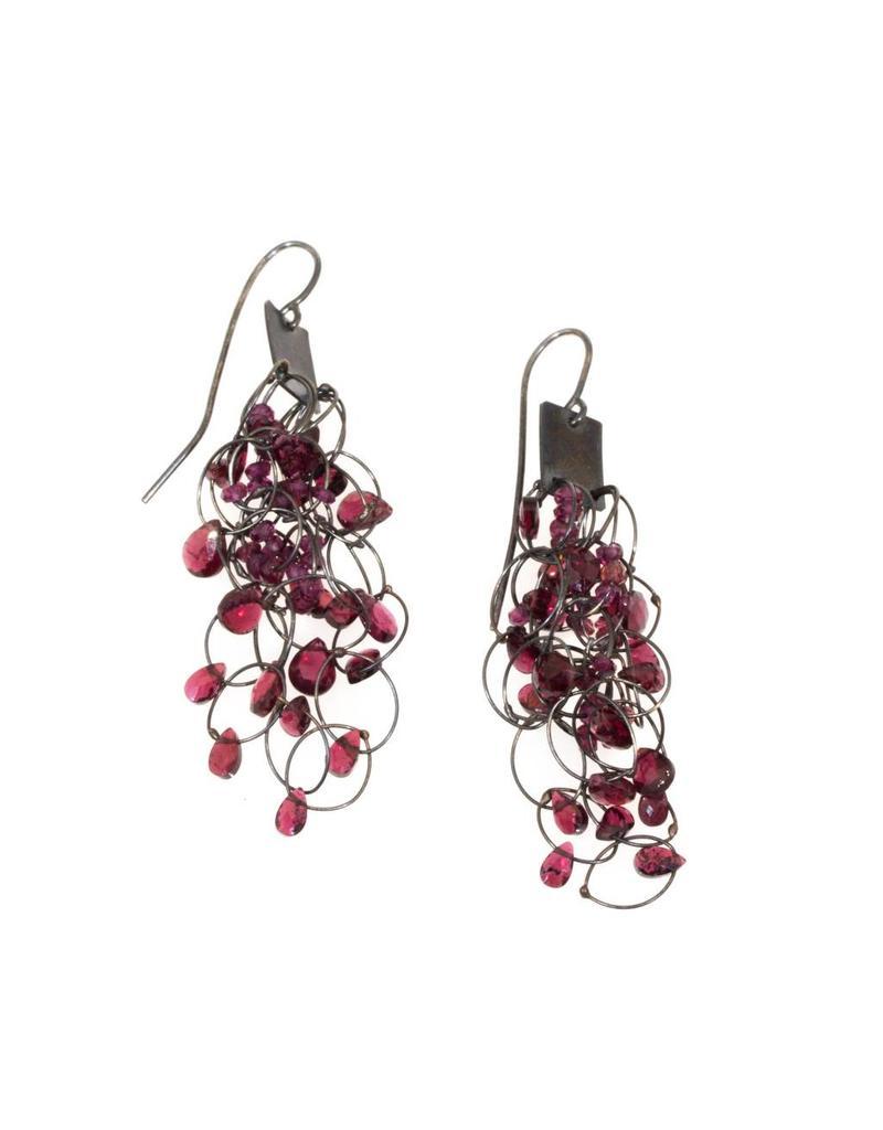 Square Garnet Earrings in Oxidized Silver