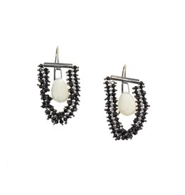 Black Spinel and Moonstone Briolette Earrings