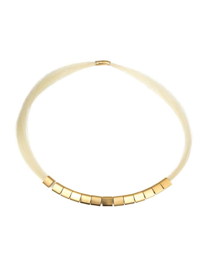 Gabriel Necklace with White Horse Hair and Gold Plated Beads