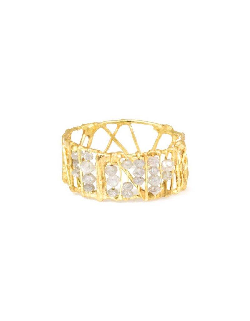 Skeleton Ring with Grey Diamonds in 18k Yellow Gold