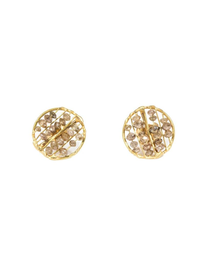 Large Skeleton Post Earrings with Champagne Diamonds in 18k Yellow Gold