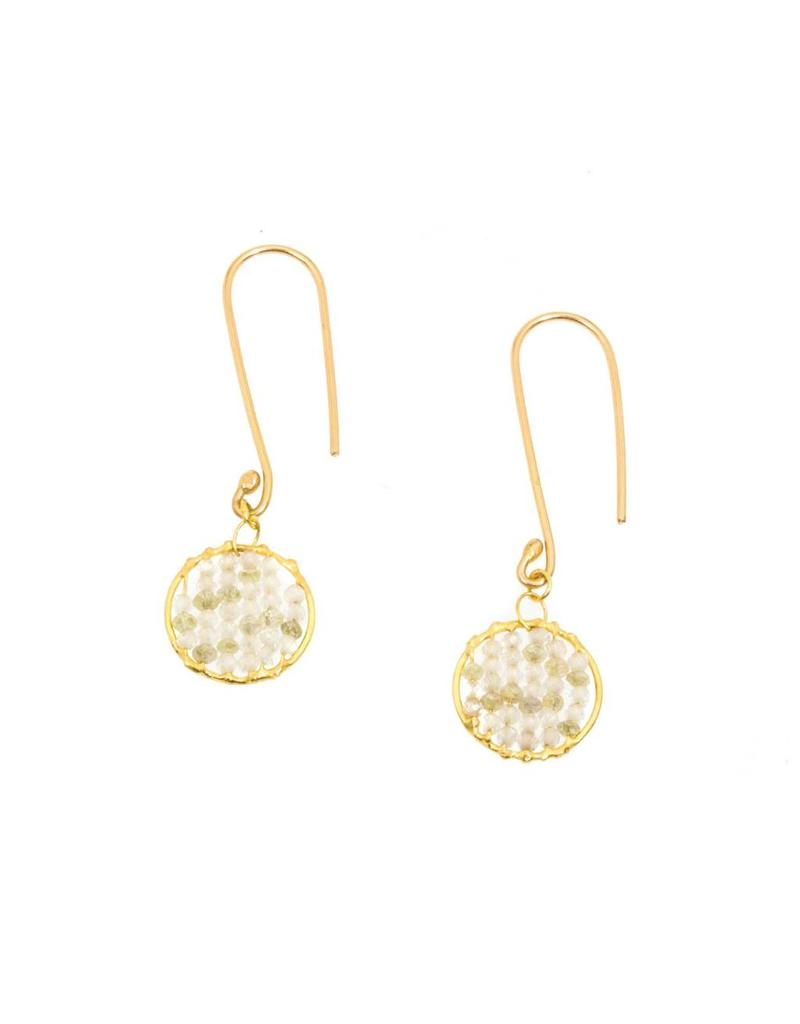 Zircon and White Diamond Skeleton Drop Earrings in 18k Yellow Gold