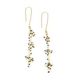Long Black Diamond Chandelier Earrings in 18k Yellow Gold