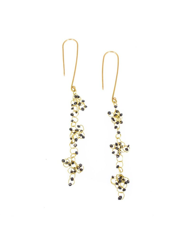 Long Black Diamond Chandelier Earrings in 18k Yellow Gold