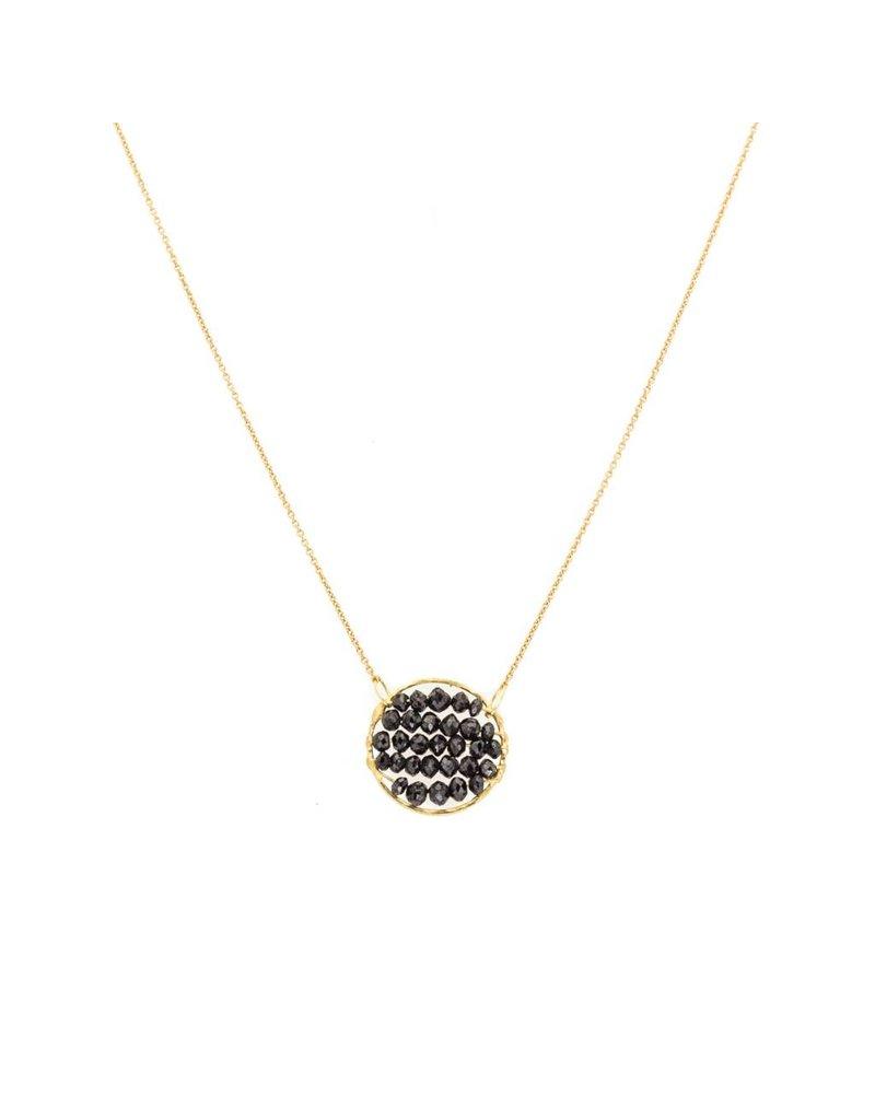 Skeleton Pendant with Black Diamonds in 18k Yellow Gold