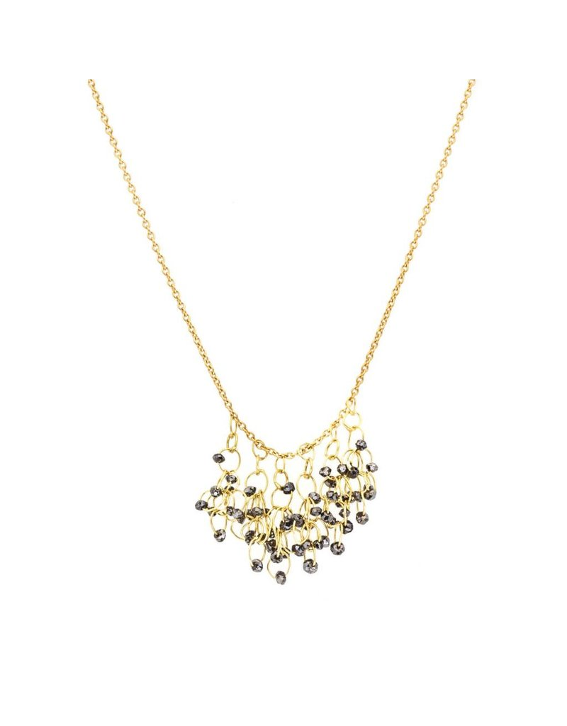 Black Diamond Cluster Necklace in 18k Yellow Gold