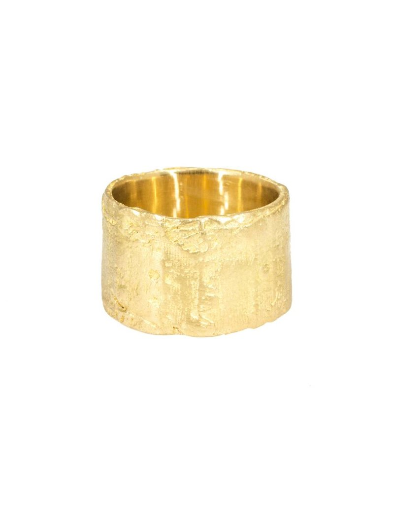 Wide Silk Textured Band in 18k Yellow Gold