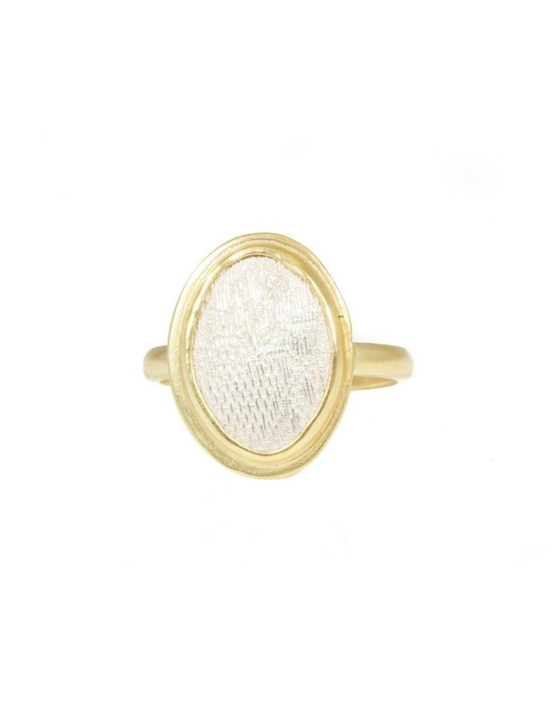 Oval Silk Ring in Silver and 18k Yellow Gold