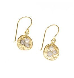 Raw Diamond Cluster Earrings in 18k Yellow Gold