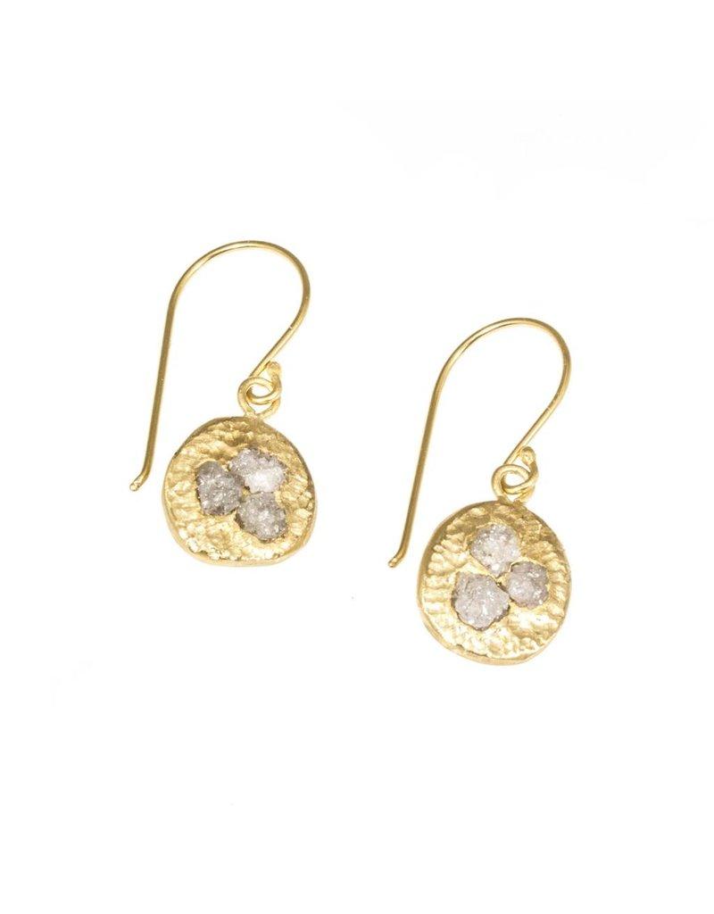 Raw Diamond Cluster Earrings in 18k Yellow Gold