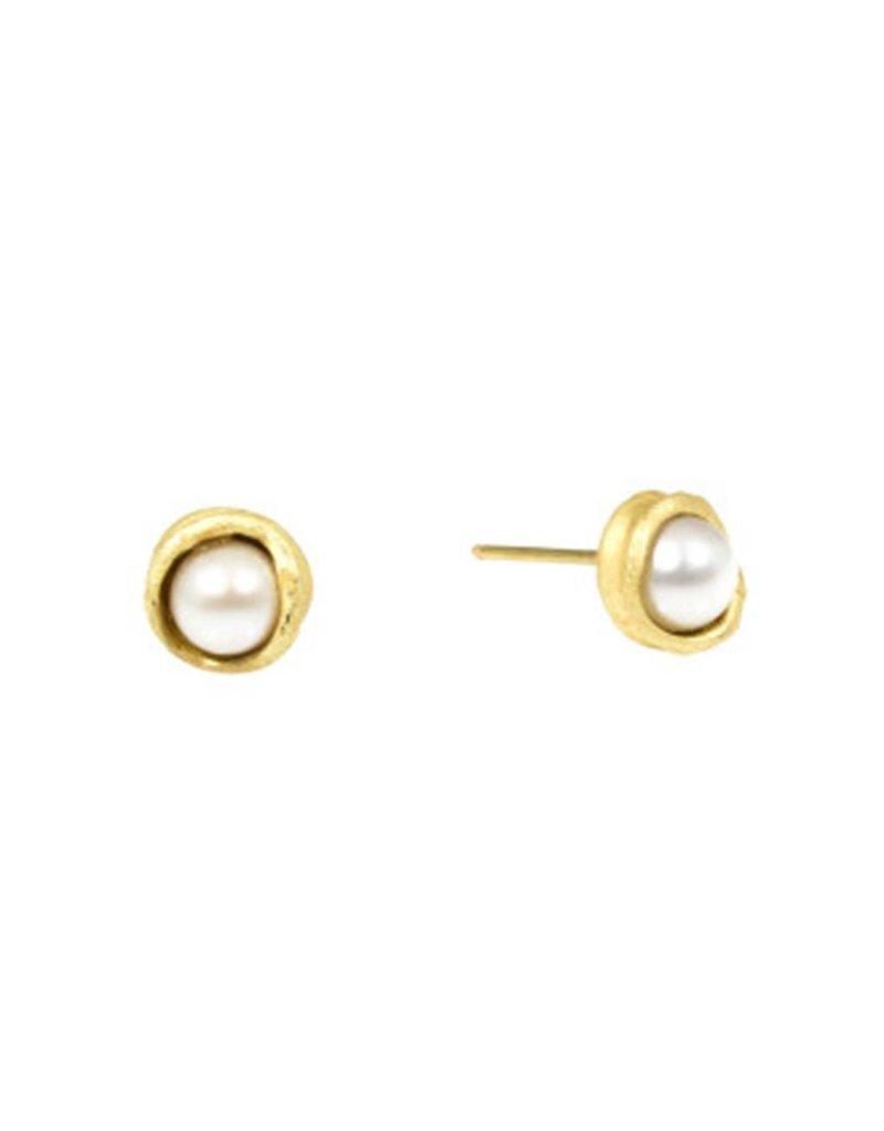 Water Droplet Pearl Post Earrings in 18K Gold