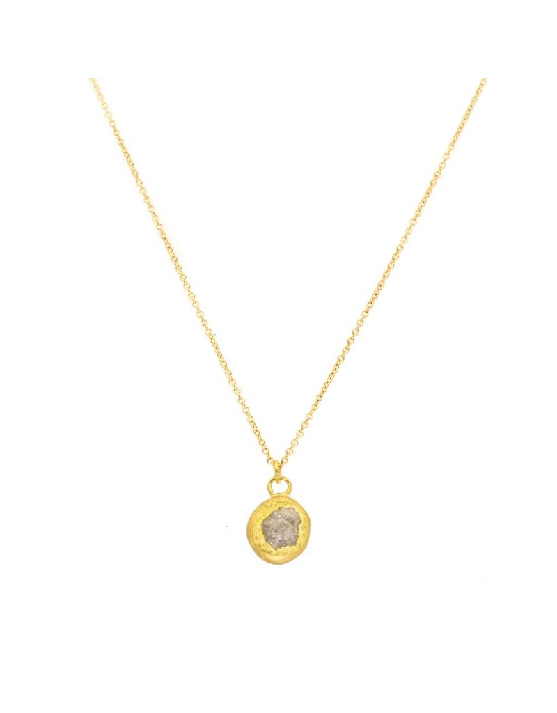 Double-Sided Pendant in 18k Yellow Gold with Raw and Rosecut Diamonds