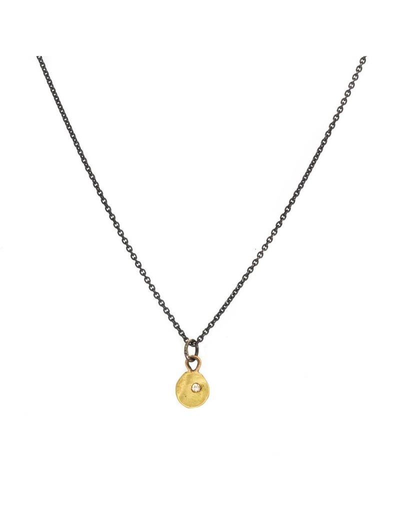 Little Diamond Pendant in 18k Yellow Gold and Oxidized Silver