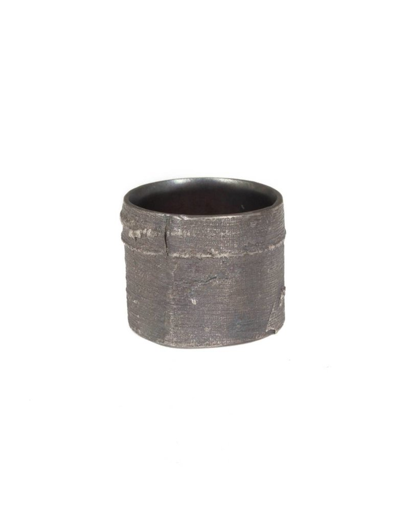 Wide Silk Textured Band in Oxidized Silver