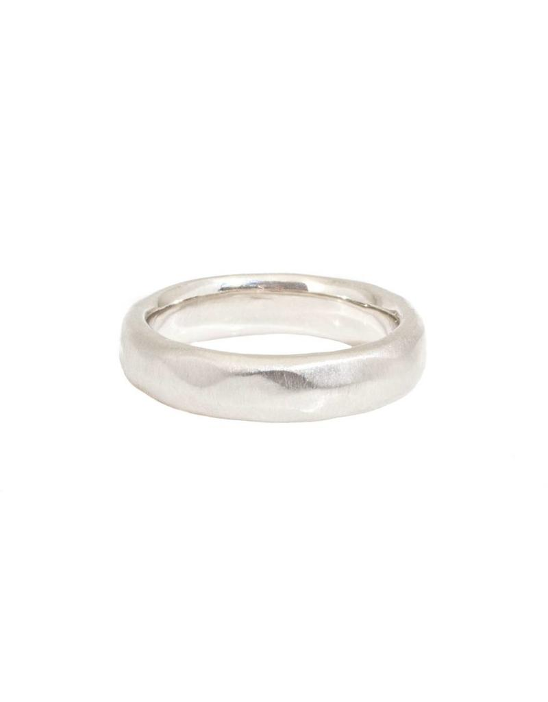 5mm Half Round Wide Faceted Platinum Band