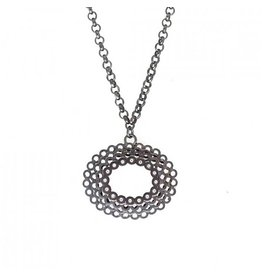 Oval Diamond Necklace with 16 Diamonds in Oxidized Silver