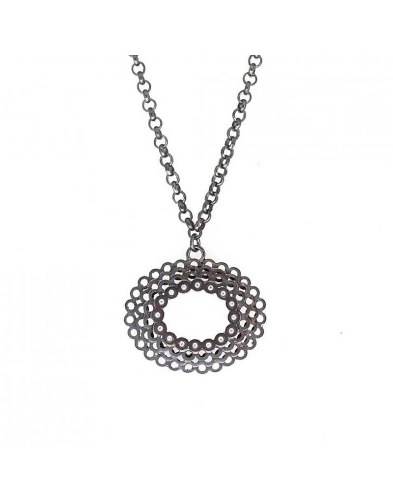 Oval Diamond Necklace with 16 Diamonds in Oxidized Silver