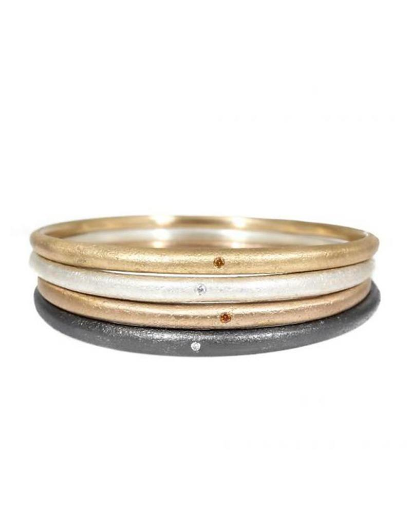 Sand Textured Tapered Bangle with 1.8mm Autumn Diamond