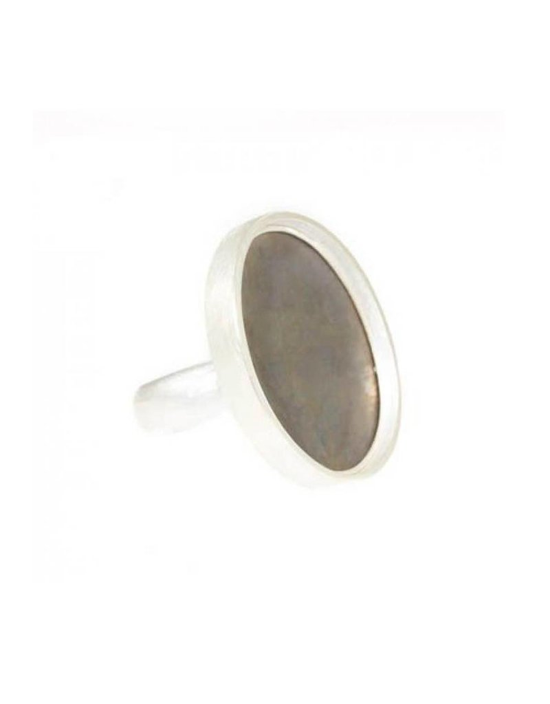 Large Oval Steel Ring in Silver