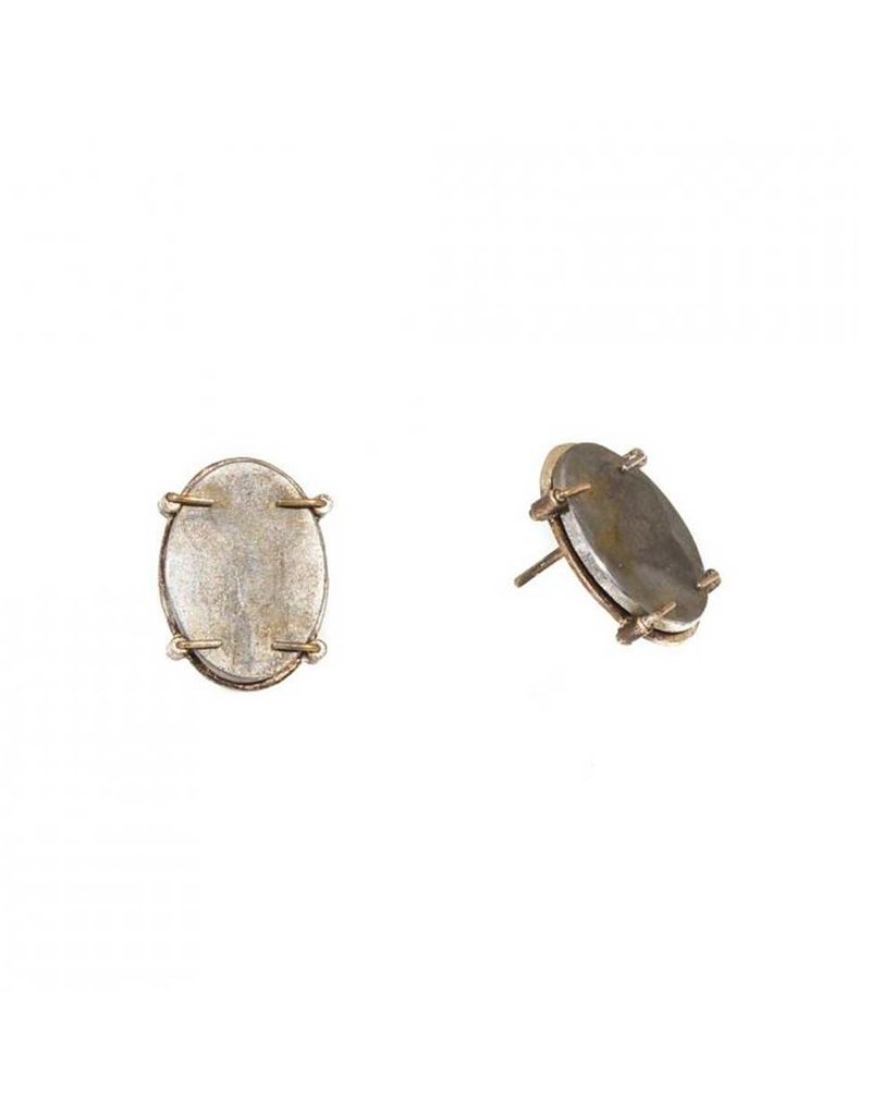 Oval Steel Post Earring with 18k Yellow Gold Prongs in Silver