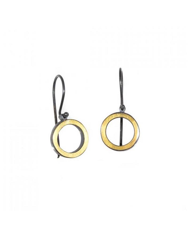Circle Earrings in 22k Gold and Oxidized Silver Bi-Metal