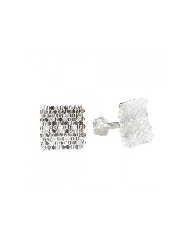 Concave Hex Square Cufflinks in Silver