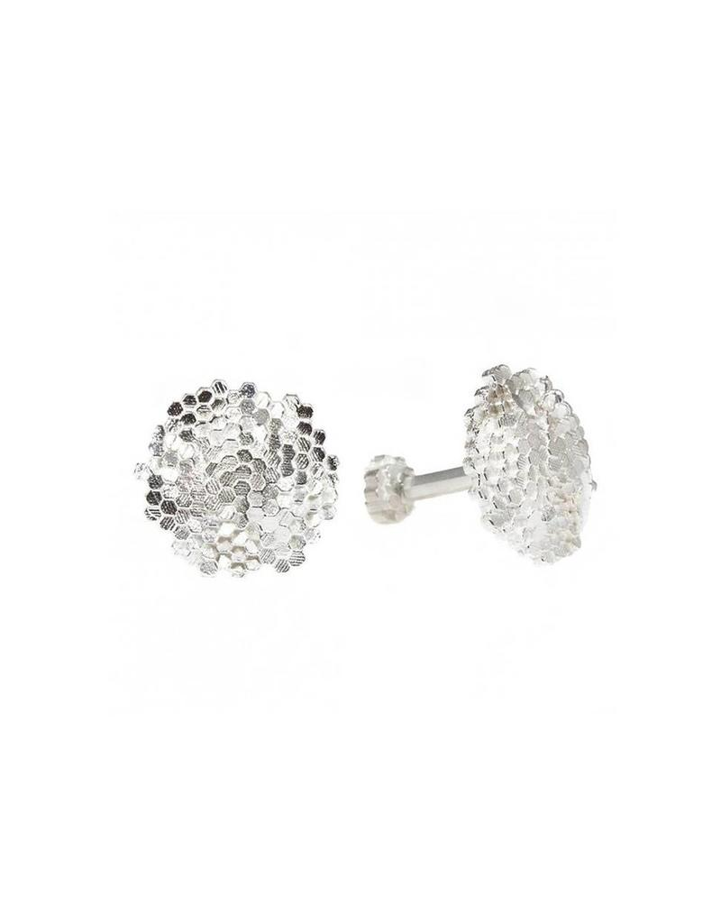 Convex Hex Circle Cufflinks in Silver