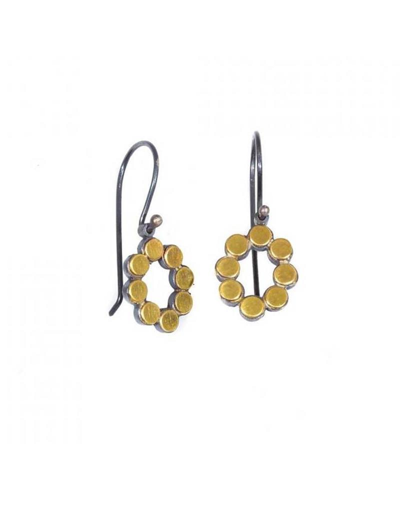 Oval Dot Earrings in 22k and Oxidized Silver Bi-Metal