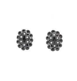 Stacked Oval Post Earrings with White Diamonds in Oxidized Silver