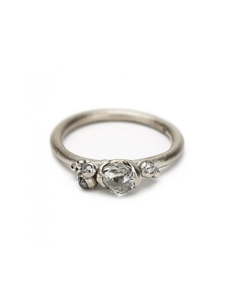Raw Diamond Ring with White and Gray Diamonds in 18k Warm White Gold