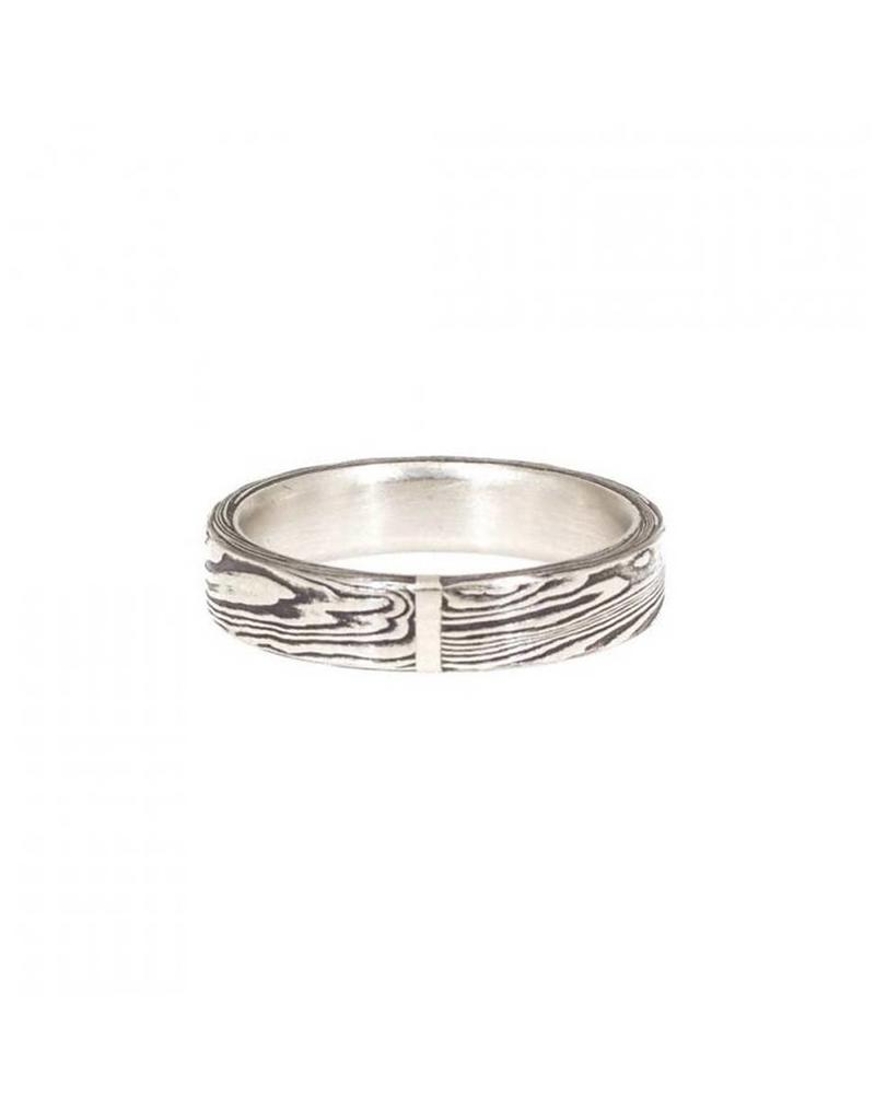 Stainless Steel Damascus Ring with Platinum 4 mm width