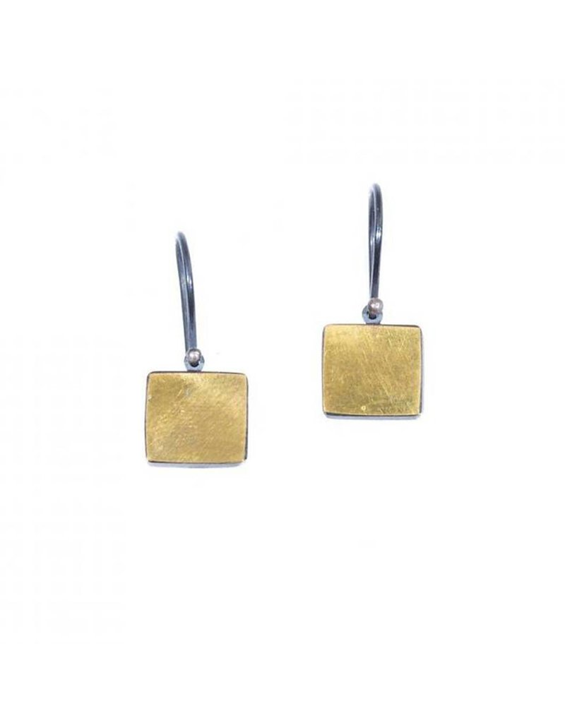 Square Earrings in 22k and Oxidized Silver Bi-Metal