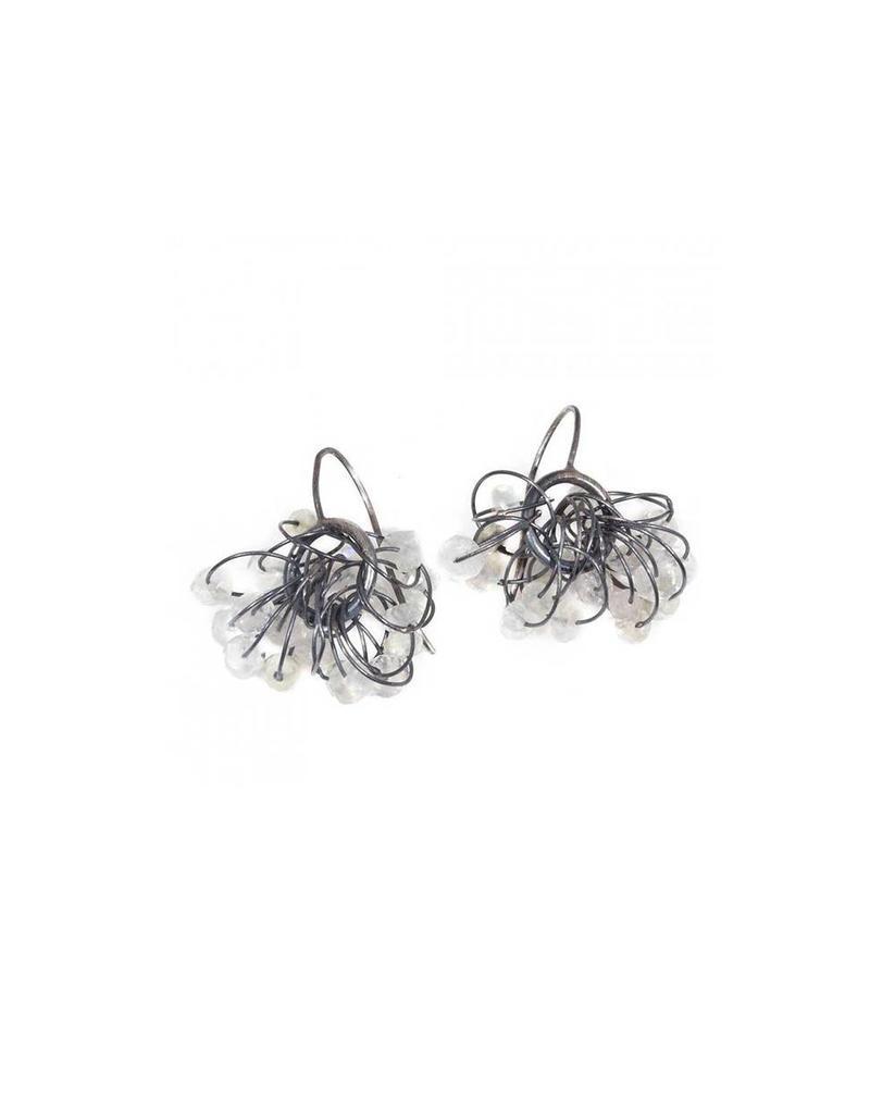 Quartz Hoop Cluster Earrings in Oxidized Silver