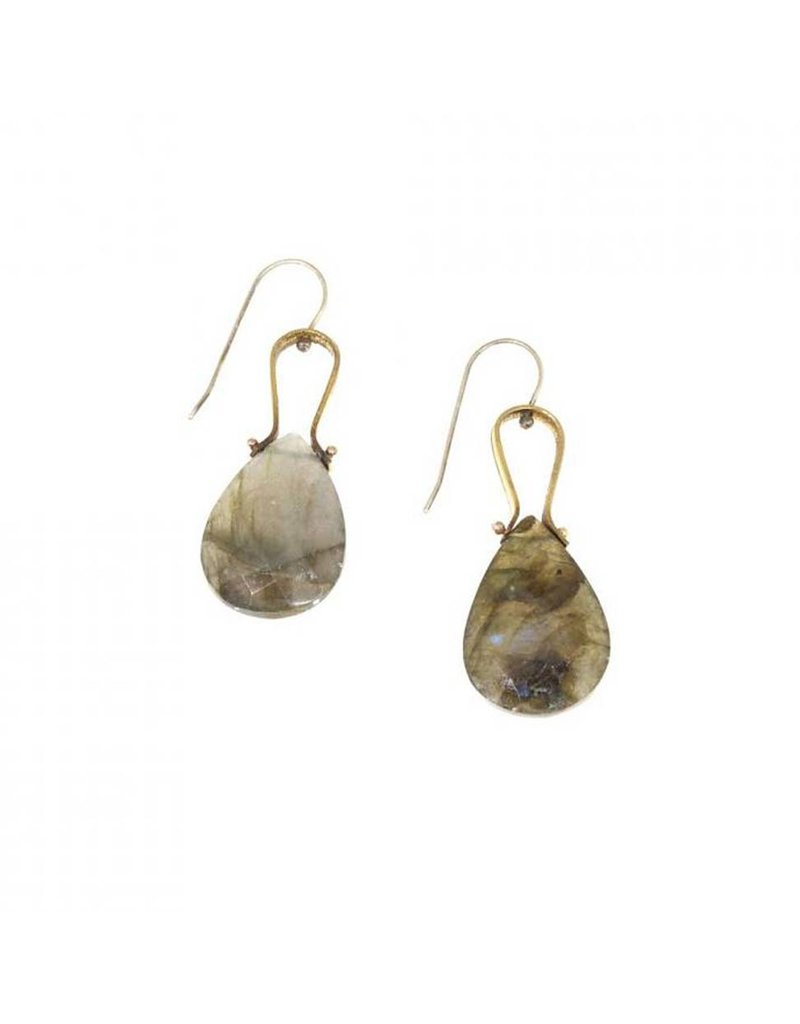 Earrings with Labradorite in Brass and Silver
