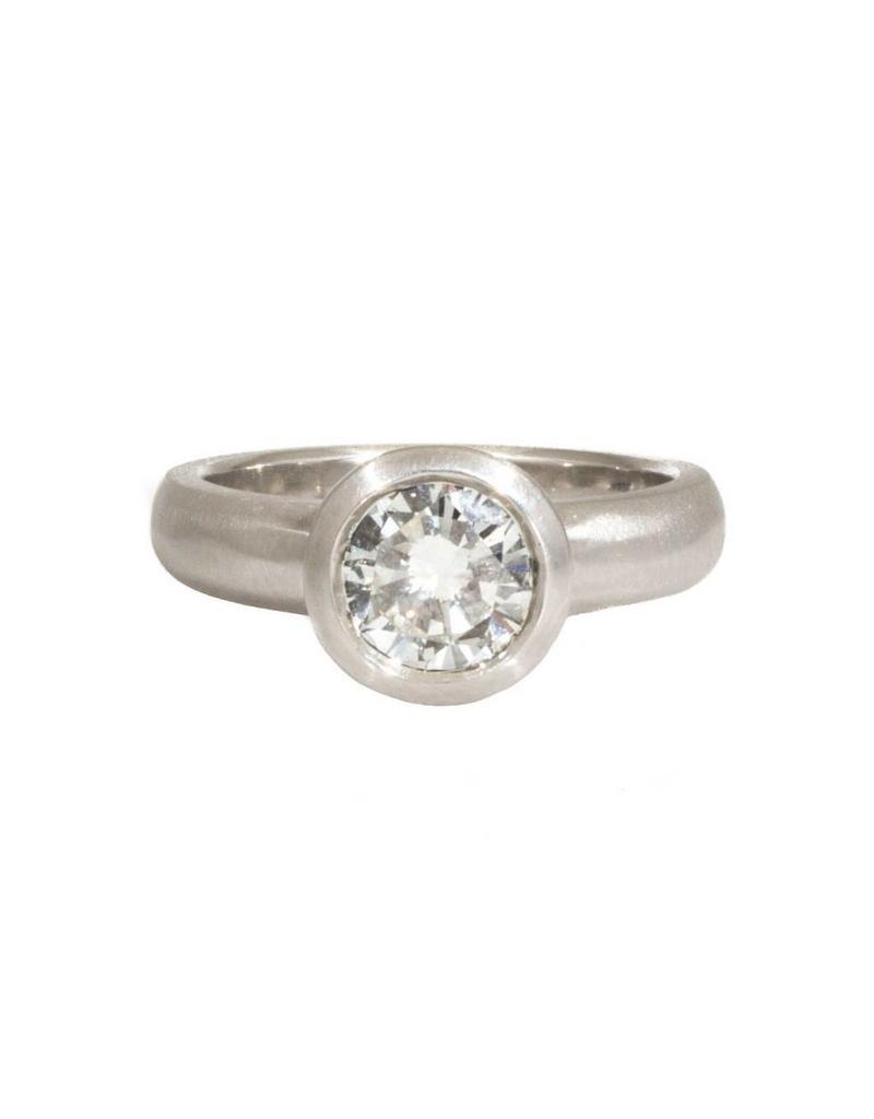 Raised Cup Brilliant Cut Diamond in Platinum