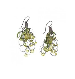 Peridot Earrings in Oxidized Silver