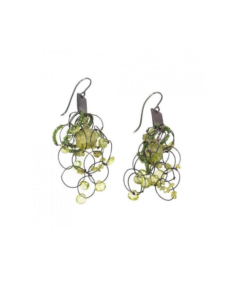 Peridot Earrings in Oxidized Silver