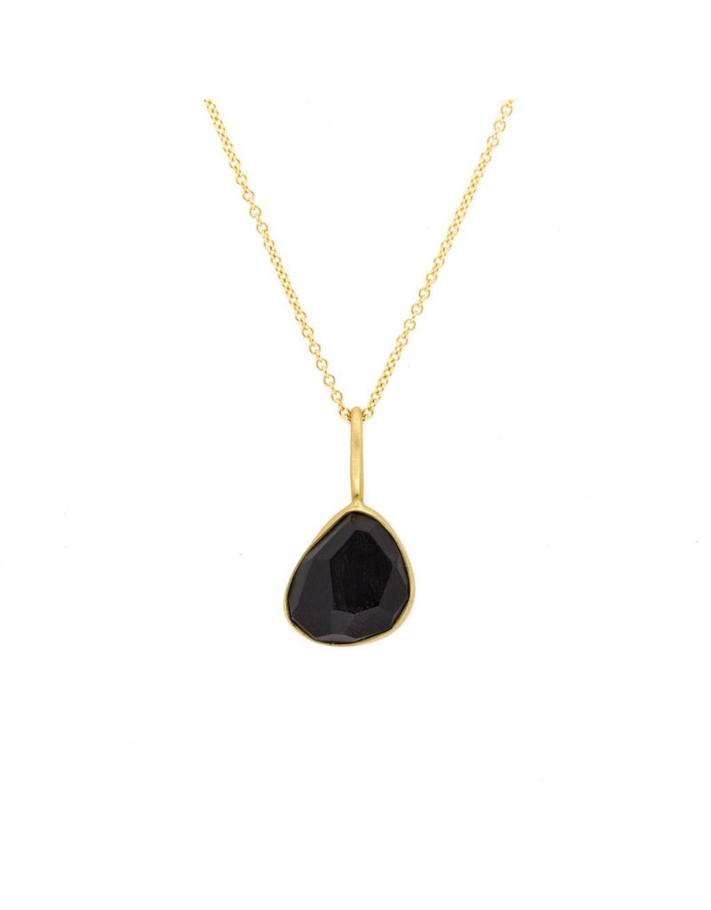 Faceted Jet Pendant in 18k Yellow Gold
