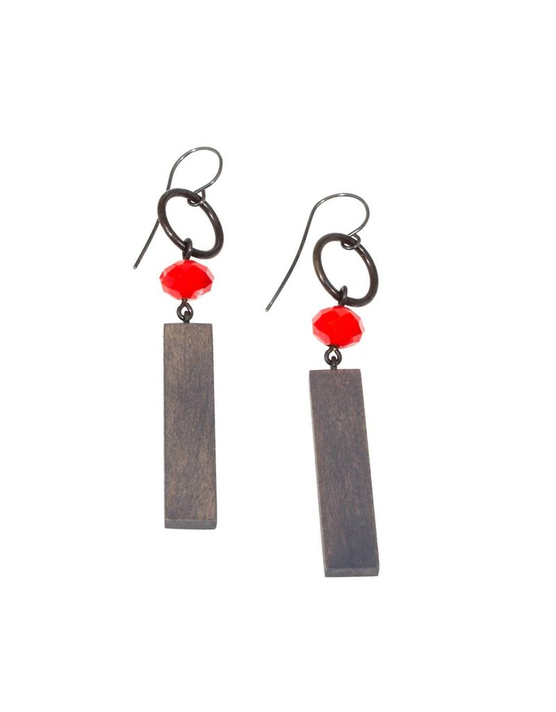 Red Light Earrings with Grey Wood