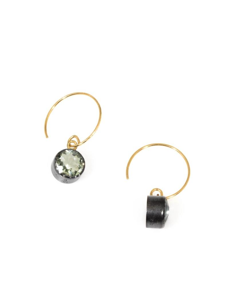 Green Amethyst Drop Earrings in Oxidized Silver and 18k Yellow Gold