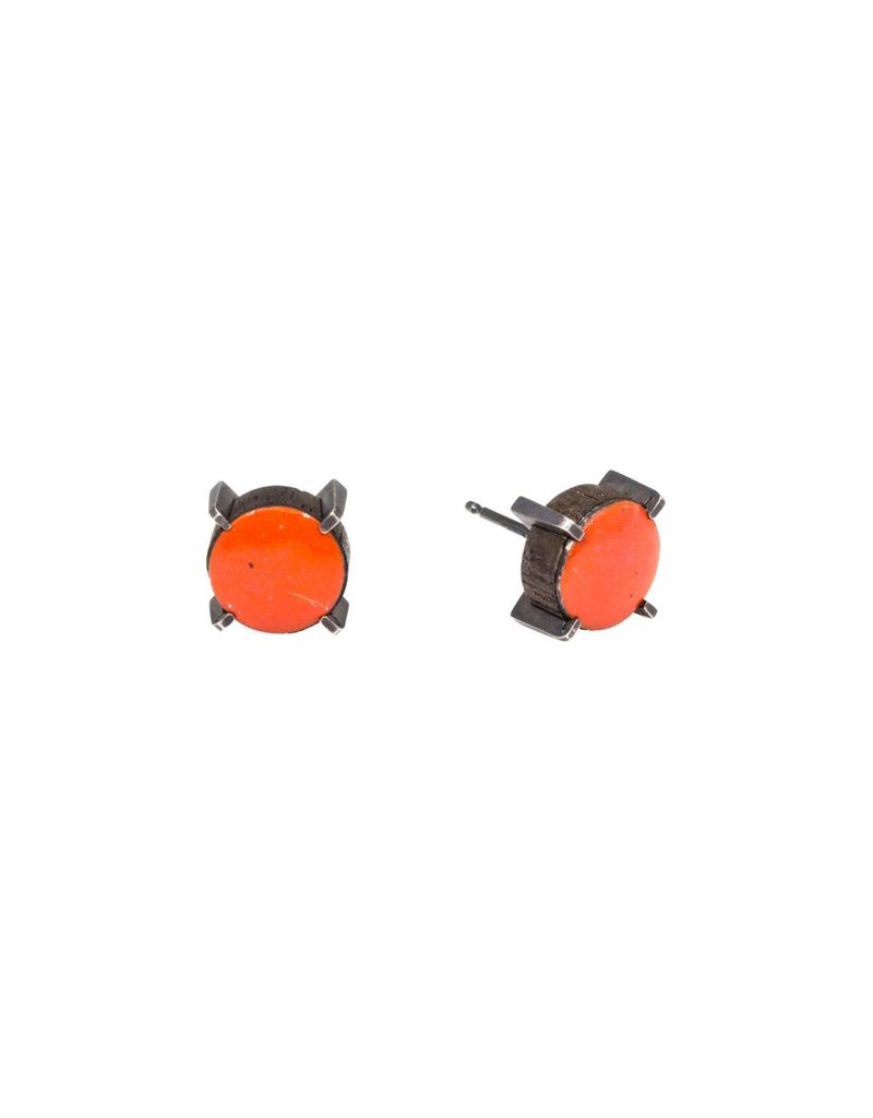 Stereo Earrings (Tomato) with Red-Orange Enamel