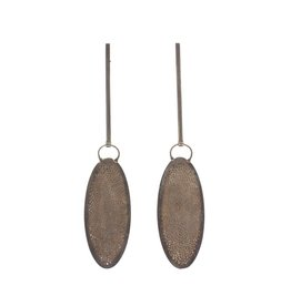 Long Perforated Hollow Oval Drop Earrings in Oxidized Silver
